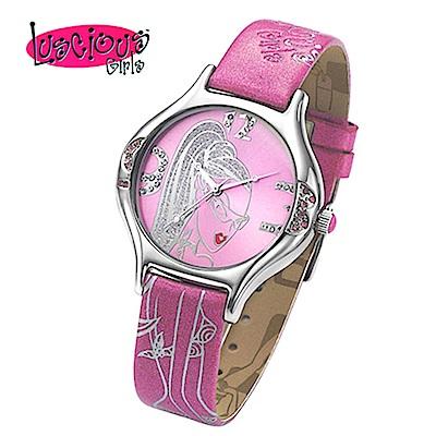 Luscious Girls浪漫少女 閃耀瞬間華麗浪漫風鑽錶(LG005C粉)