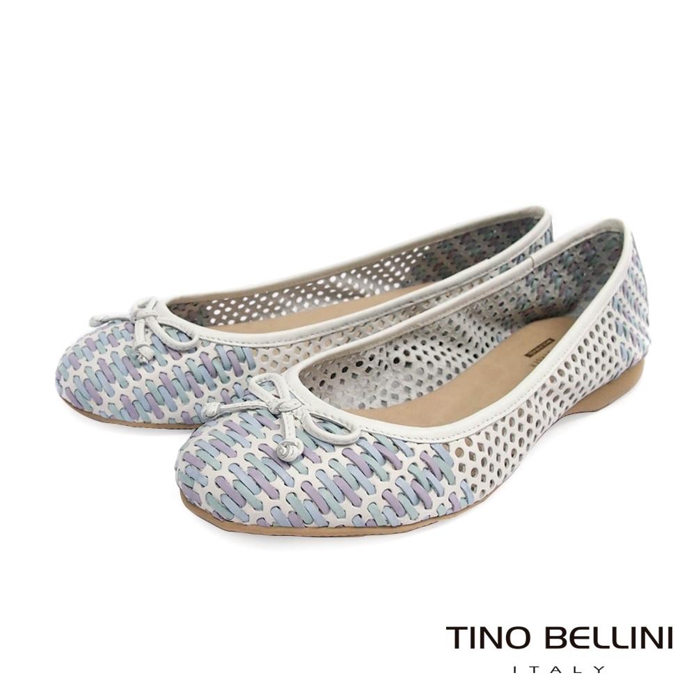 Tino Bellini巴西進口工藝編織鏤空全真皮平底鞋_白