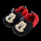迪士尼童鞋 米奇 柔毛電繡寶寶學步鞋-黑紅