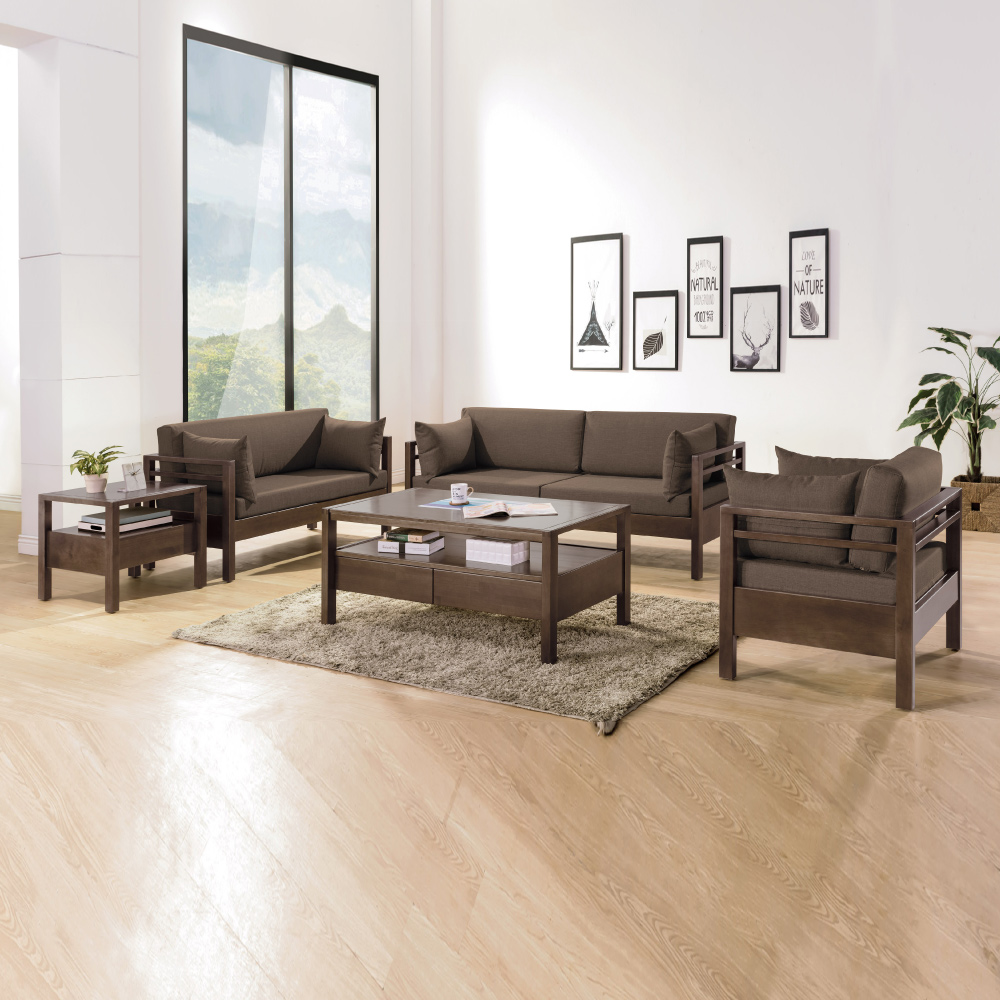 AS-柏格咖啡布本色實木1+2+3沙發組