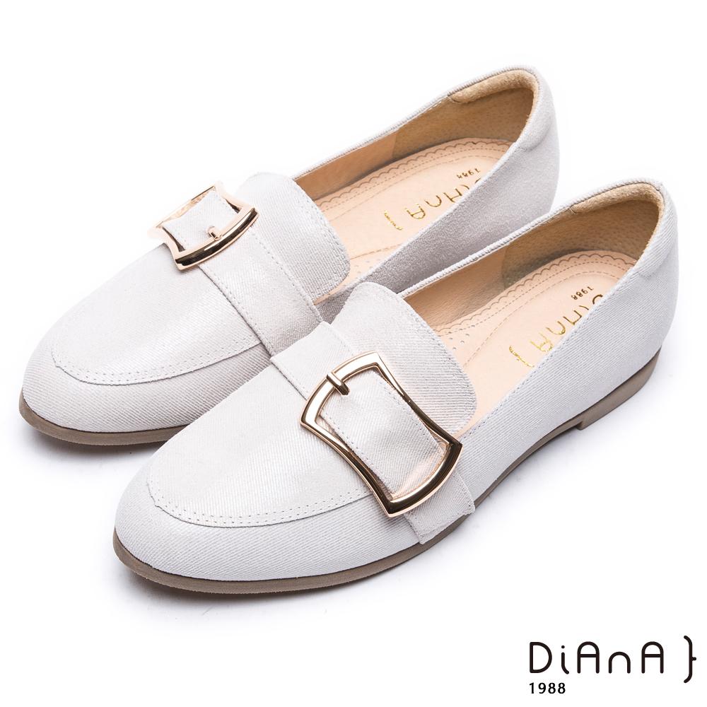 DIANA 漫步雲端超厚切焦糖美人—簡約穿孔方釦真皮平底鞋-米白