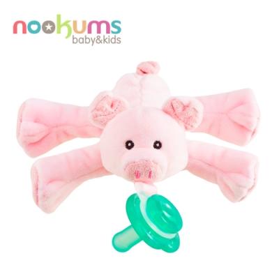 nookums 美國  寶寶可愛造型搖鈴安撫奶嘴/玩偶 - 粉紅豬