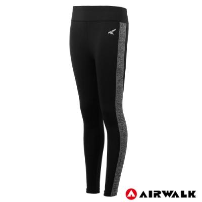 【AIRWALK】女款拼接緊身褲-黑色