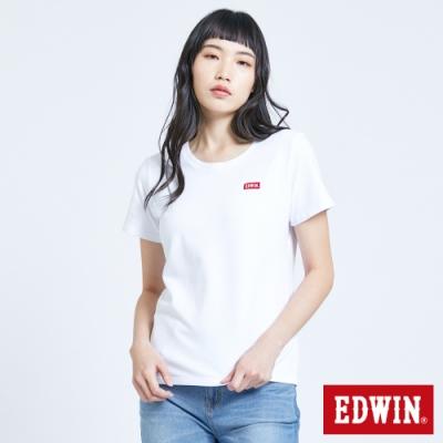 EDWIN 第七代 基本LOGO短袖T恤-女-白色