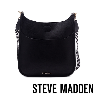 STEVE MADDEN-BRAYAA U型斑馬背帶側背包-黑色