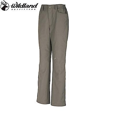 【Wildland 荒野】女防風防潑水保暖長褲卡其