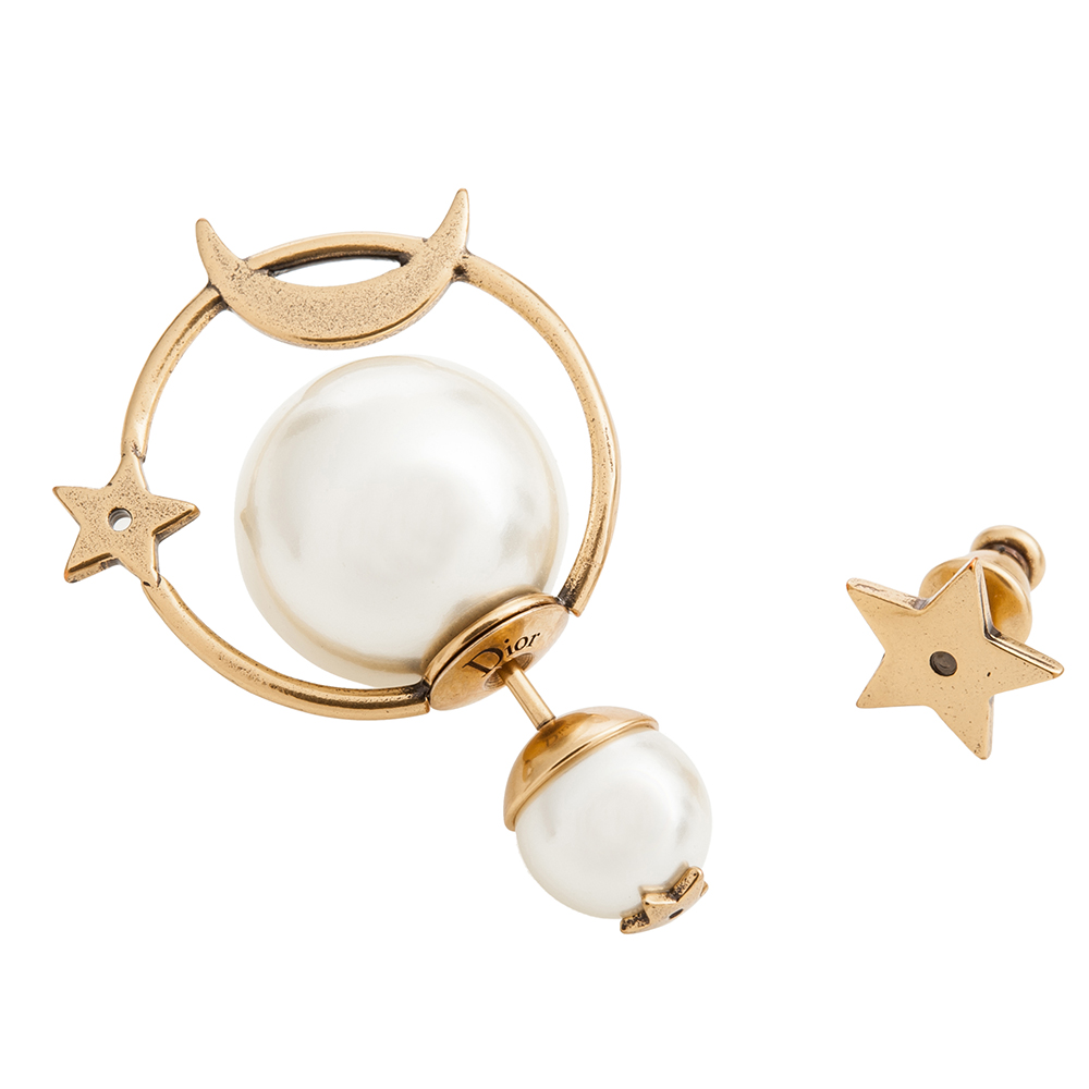 Dior Tribales 鍍金復古金屬和白色樹脂圓珠不對稱「月球」穿式耳環