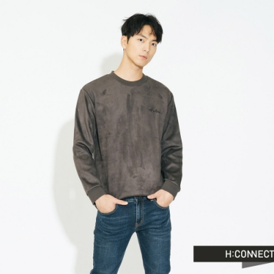 H:CONNECT 韓國品牌 男裝 - 質感印字圓領上衣 - 褐色