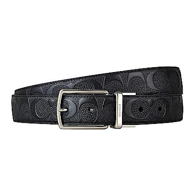 COACH專櫃款經典印花LOGO PVC扣式皮帶(黑)