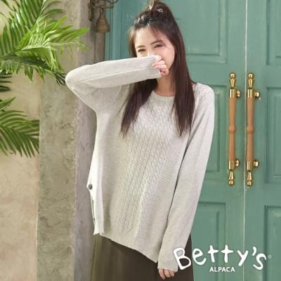 betty's貝蒂思 素面圓領造型毛衣(淺灰)