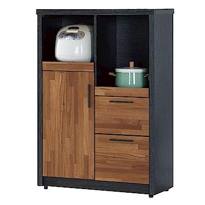 文創集 羅姆時尚2.7尺雙色拉盤餐櫃/收納櫃-80x40x120cm免組