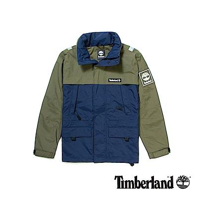 Timberland男款藍綠拼接防風連帽外套