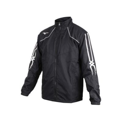 MIZUNO 男防潑水保暖外套-美津濃 慢跑 路跑 立領外套 黑白紅