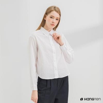 Hang Ten-女裝-A-line版型長袖襯衫-白色
