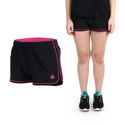 FIRESTAR 女彈性平織慢跑短褲-路跑 健身 休閒 黑亮粉紅