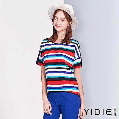YIDIE衣蝶-層疊條紋多彩線條上衣