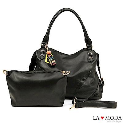 La Moda 質感熱賣款大容量雷射沖孔綴飾肩背斜背子母包(黑)
