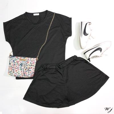 WHALE JEANS Korea休閒圓領百搭素面兩件式衣褲套裝-4色