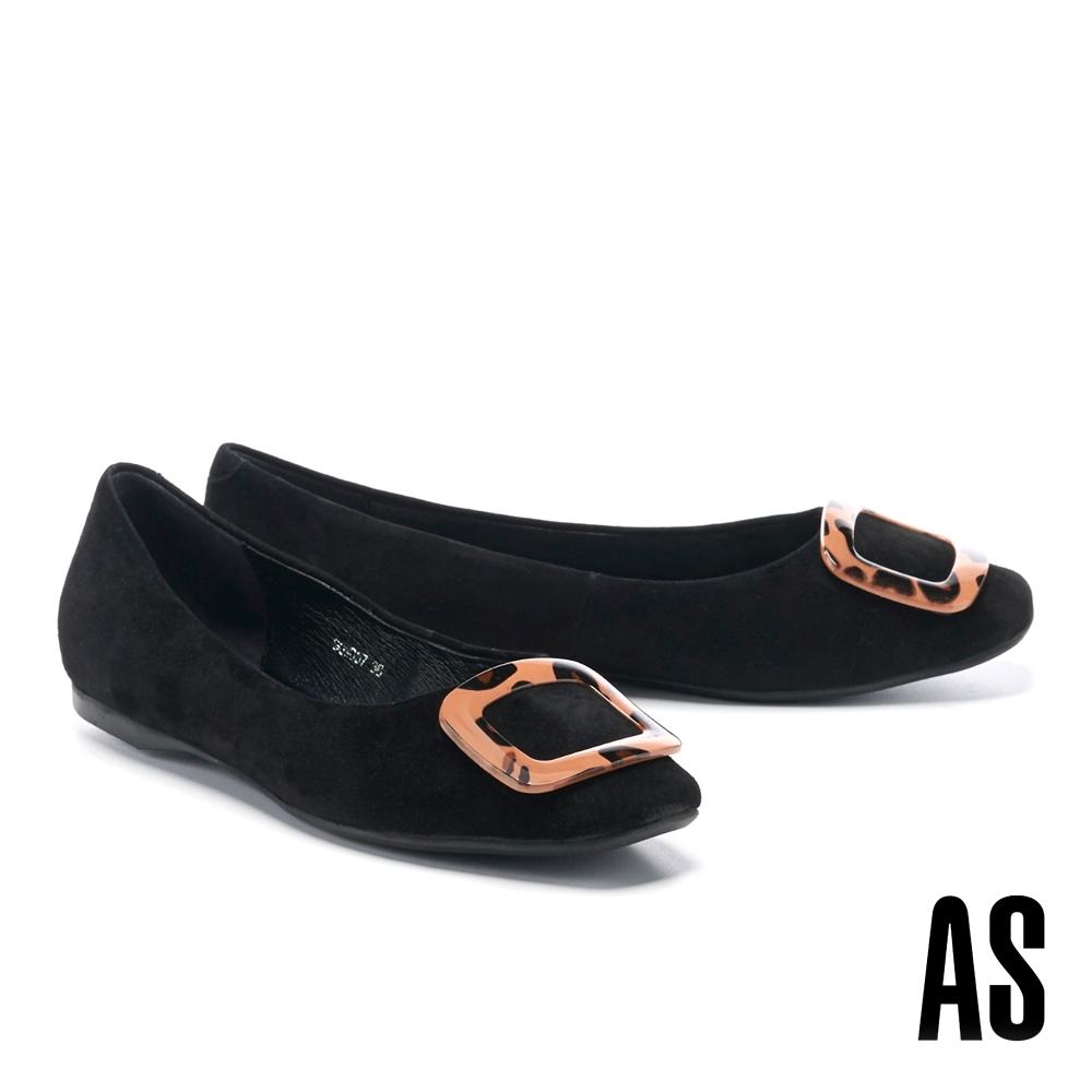 平底鞋 AS 時髦典雅豹紋方釦全真皮方頭平底鞋-黑