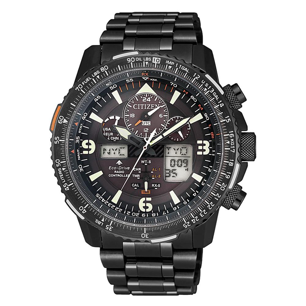 CITIZEN LED航空電波光動能腕錶-黑(JY8085-81E)/42mm