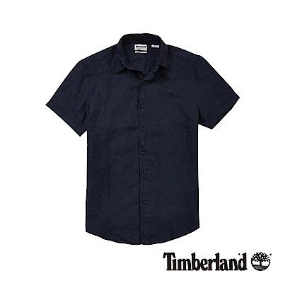 Timberland 男款深藍色棉麻短袖襯衫|A1N3X475