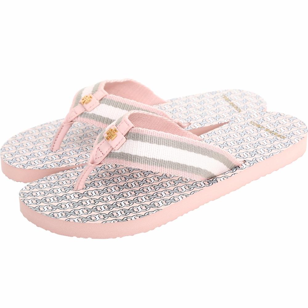 TORY BURCH Gemini Link 條紋織帶人字夾腳涼拖鞋(粉色)