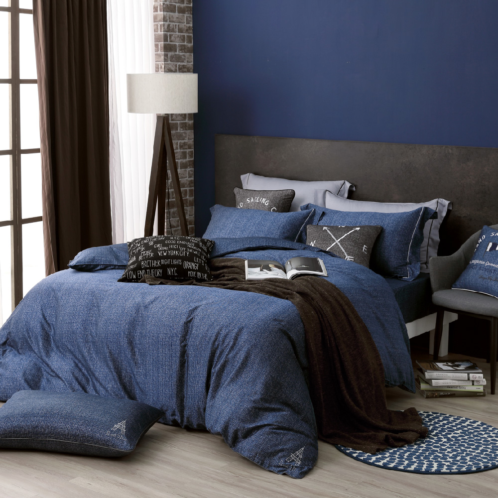 OLIVIA SIMON 藍 加大雙人床包冬夏兩用被套四件組 繡線枕 棉天絲系列