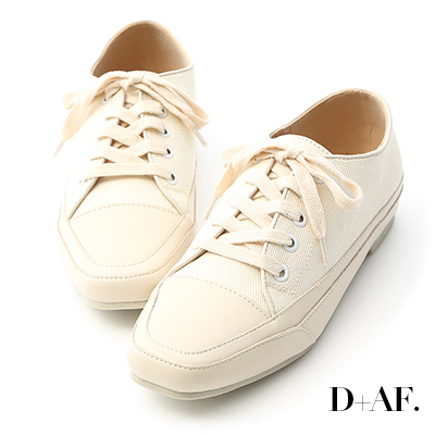 D+AF 自在首選.小方頭多色帆布休閒鞋*米