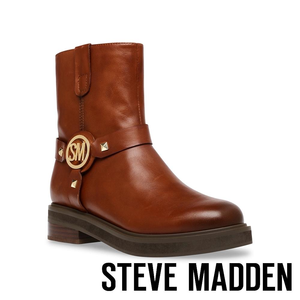 STEVE MADDEN-MOTTAR 品牌LOGO鉚釘造型短靴-咖啡色