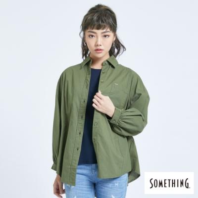 SOMETHING 隨性休閒寬袖襯衫-女-綠色