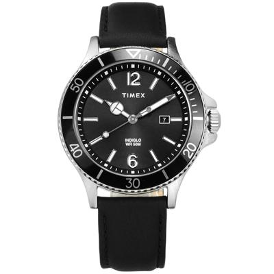 TIMEX 天美時 美國品牌 礦石強化玻璃 日期 真皮手錶-黑色/42mm
