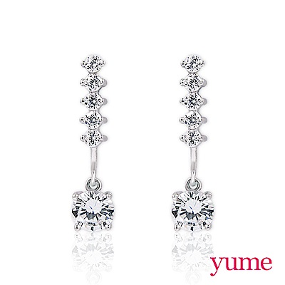 YUME - 純銀夾式 - 排鑽水滴耳環