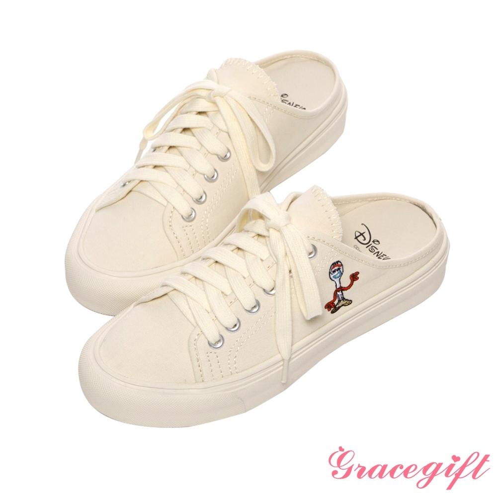 Disney collection by grace gift-玩總叉奇後空帆布休閒鞋 米白