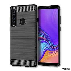 揚邑 Samsung Galaxy A9 2018拉絲紋碳纖維軟殼散熱防震抗摔手機殼-黑