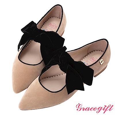 Disney collection by grace gift絨布寬帶尖頭平底鞋 杏