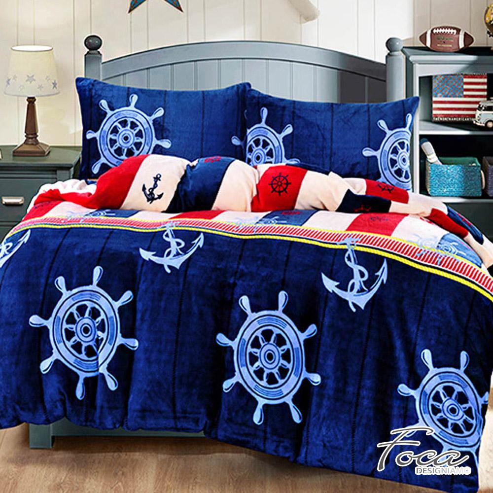 FOCA 啟航吧!水手   加大-極緻保暖法萊絨四件式兩用毯被套床包組