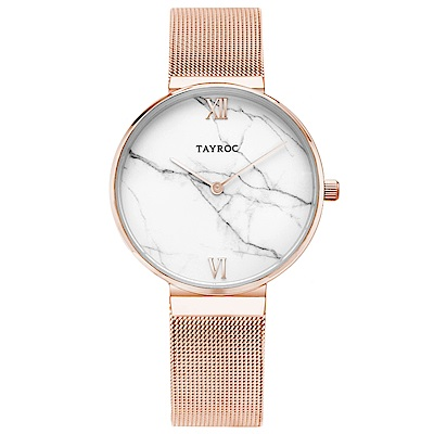 TAYROC 英式簡約時尚米蘭帶手錶-大理石紋X玫瑰金/36mm