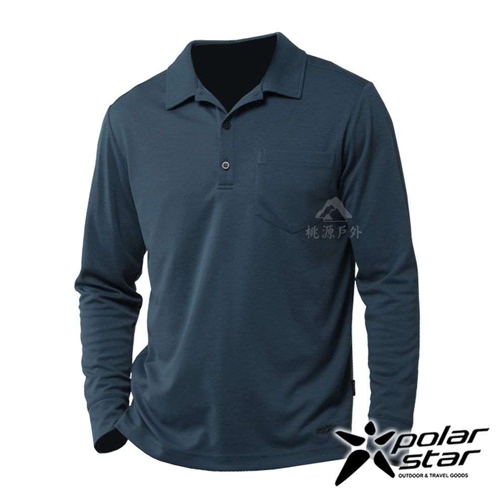 【PolarStar】男 吸排抗UV POLO衫『灰藍』P20253