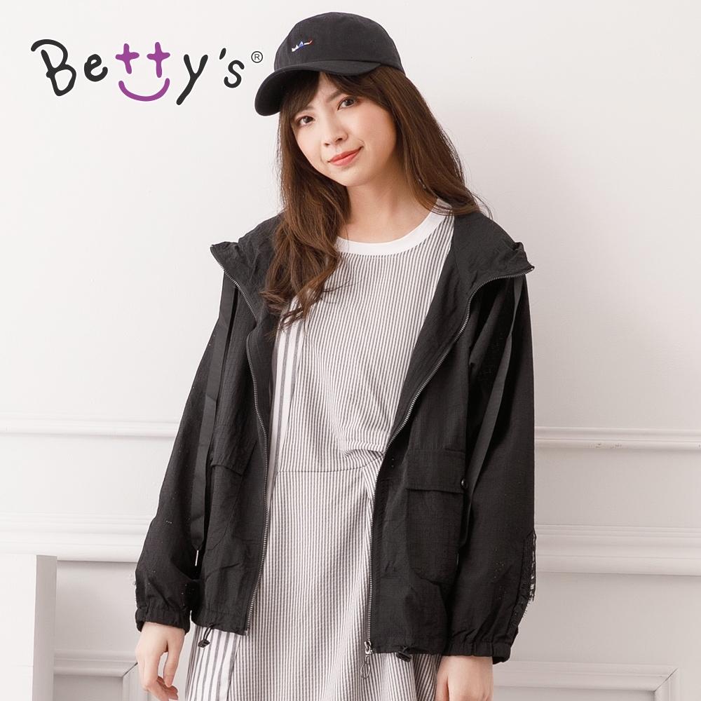 betty's貝蒂思 透氣蕾絲連帽薄外套(黑色)