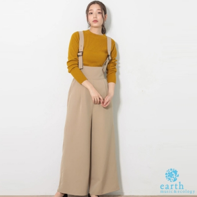 earth music 吊帶打摺寬褲