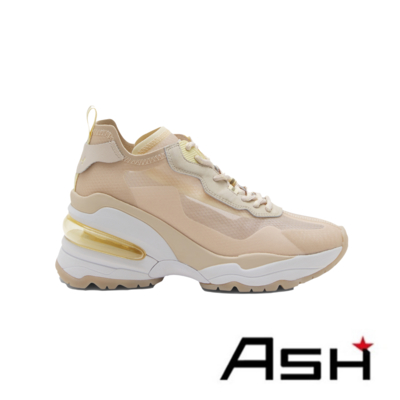 ASH-DELIGHT透明蟬翼撞色楔型增高老爹鞋-杏