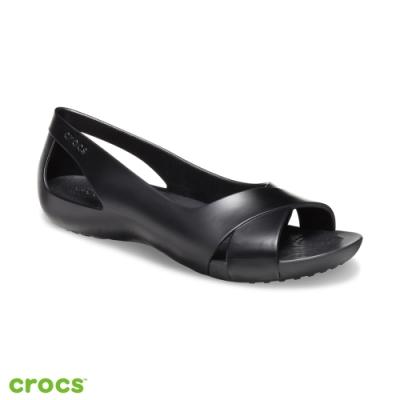 Crocs卡駱馳 (女鞋) 瑟琳娜花漾女士平底鞋  206106-001
