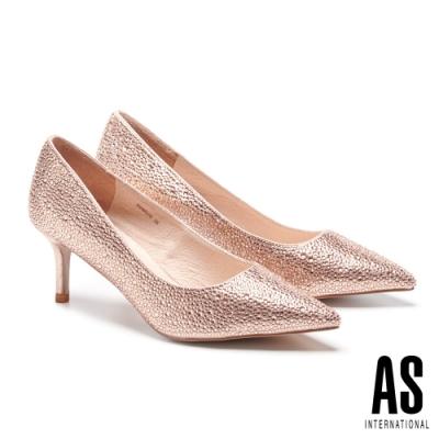 高跟鞋 AS 極致奢華閃耀晶鑽尖頭高跟鞋-粉