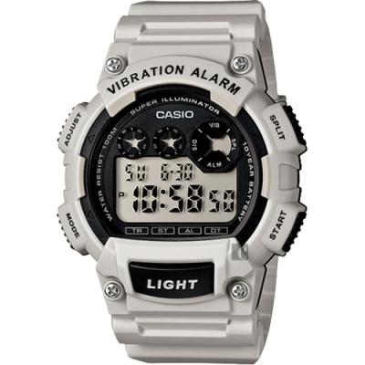 CASIO 卡西歐 十年電力震動提示手錶-淺灰(W-735H-8A2)