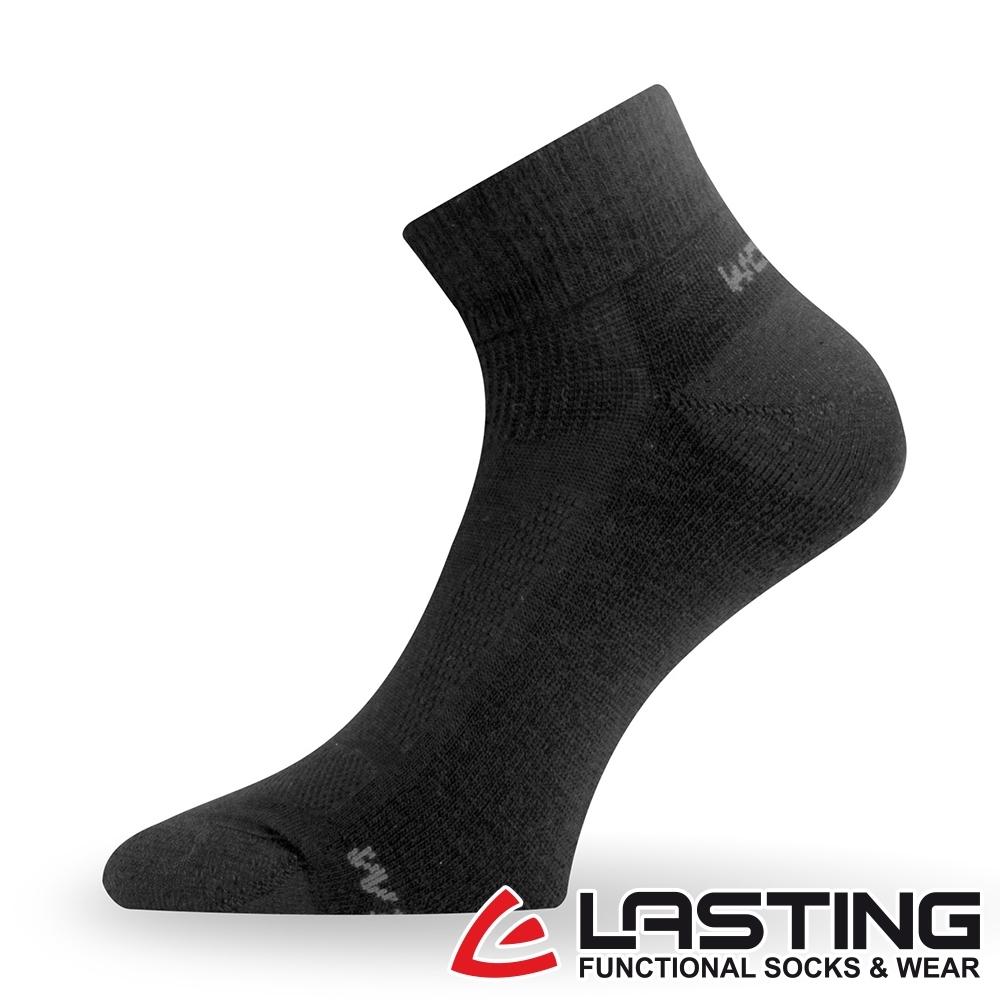 【LASTING捷克】男女款美麗諾羊毛抗菌除臭吸濕排汗短襪/運動襪LT-WDL黑