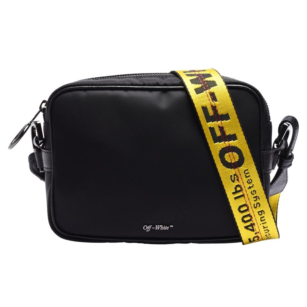 OFF-WHITE 經典品牌LOGO浮雕尼龍拉鍊斜背包(黑)