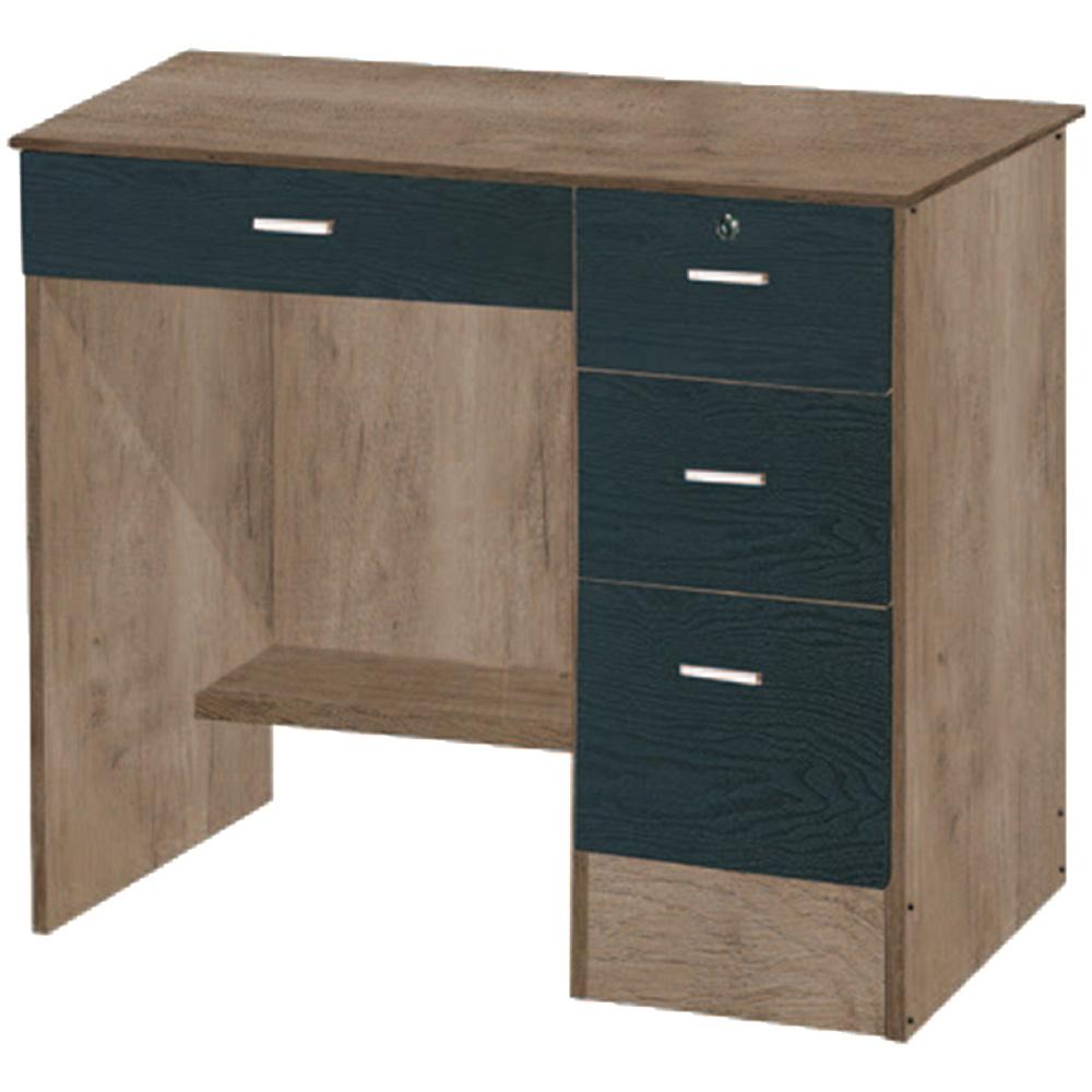 綠活居 米特3尺木紋四抽書桌/電腦桌(二色)-89.5x55.5x74.5cm免組