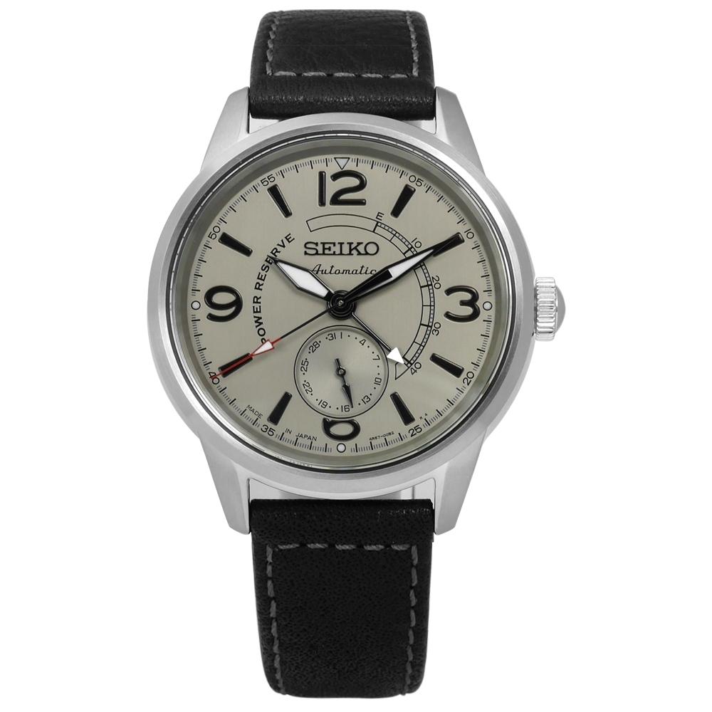 SEIKO 精工 PRESAGE 自動上鍊 藍寶石水晶玻璃 牛皮機械錶-灰x黑/42mm