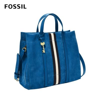 【FOSSIL】Carmen 麂皮兩用手提包-馬里布藍 ZB8060965