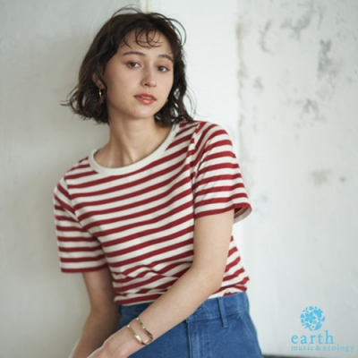 earth music 定番橫條紋圓領短袖T恤